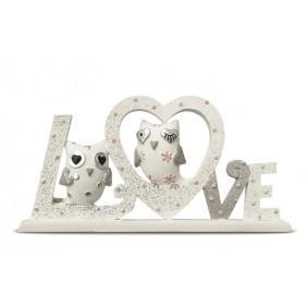Napis dekoracyjny drewniany Sówki 'Love'