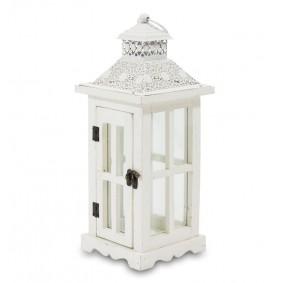Lampion Drewniany Ażur Biały Candela 39,5cm