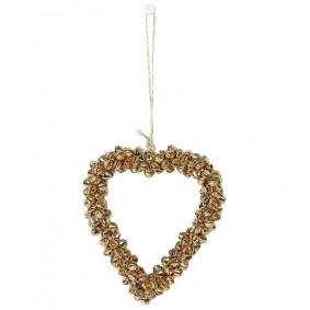 Ozdoba zawieszka - złote Serce mini dzwoneczki 11,5 cm