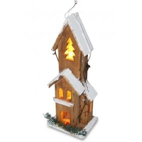 Dekoracja świąteczna domek podświetlany LED 40 cm drewniany