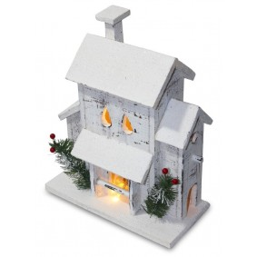 Biały Drewniany domek LED 31 cm Świąteczna dekoracja