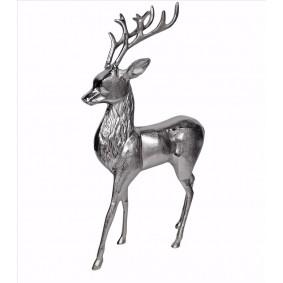 Jeleń z aluminium - srebrny polerowany 59 cm!