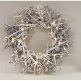 Świąteczna ozdoba Wiklinowa, wianek Led 50cm
