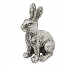 Figurka Zając w kolorze srebrnym 17 cm
