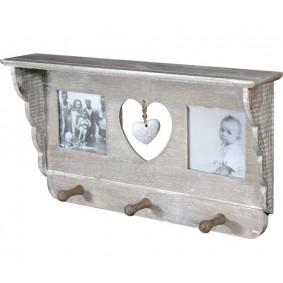 Drewniana półka z wieszaczkami