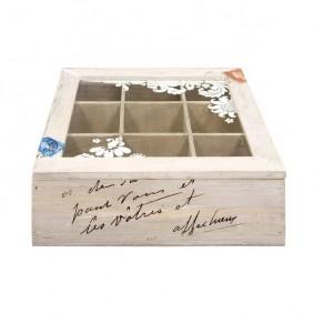 Drewniane pudełko z przegródkami na różności