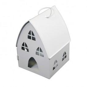 Lampion Metalowy Domek Biały (duży)