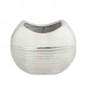 Połyskujący wazon ceramiczny sebrny