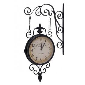 Duży Zegar Wiszący Bokiem Metalowy Retro NEW YORK
