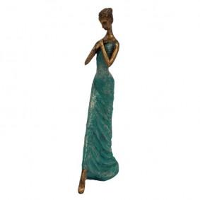 Figurka kobieta w szmaragdowej sukni 32.7cm