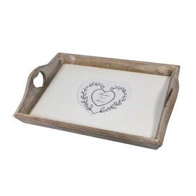 Drewniana taca z sercem 7x41x27 cm